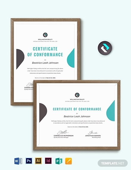 Certificate Of Conformance Template Pdf Beautiful Certificate Of Conformance Template 8 Word Psd Ai