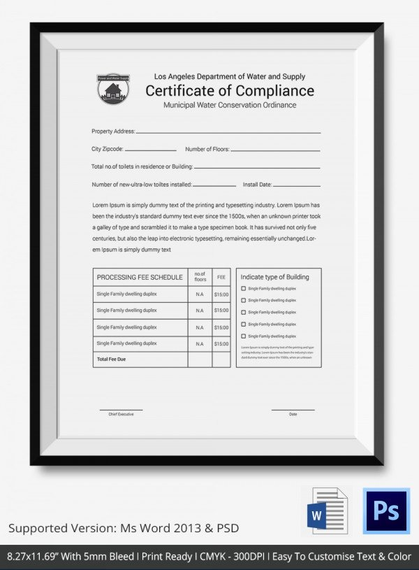 Certificate Of Conformance Template Pdf Best Of Certificate Of Pliance Template – 12 Word Pdf Psd