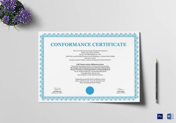 Certificate Of Conformance Template Pdf Inspirational Sample Conformity Certificate Template 15 Documents In