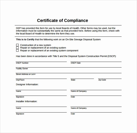 Certificate Of Conformance Template Pdf Lovely Sample Certificate Of Pliance Template 15 Free