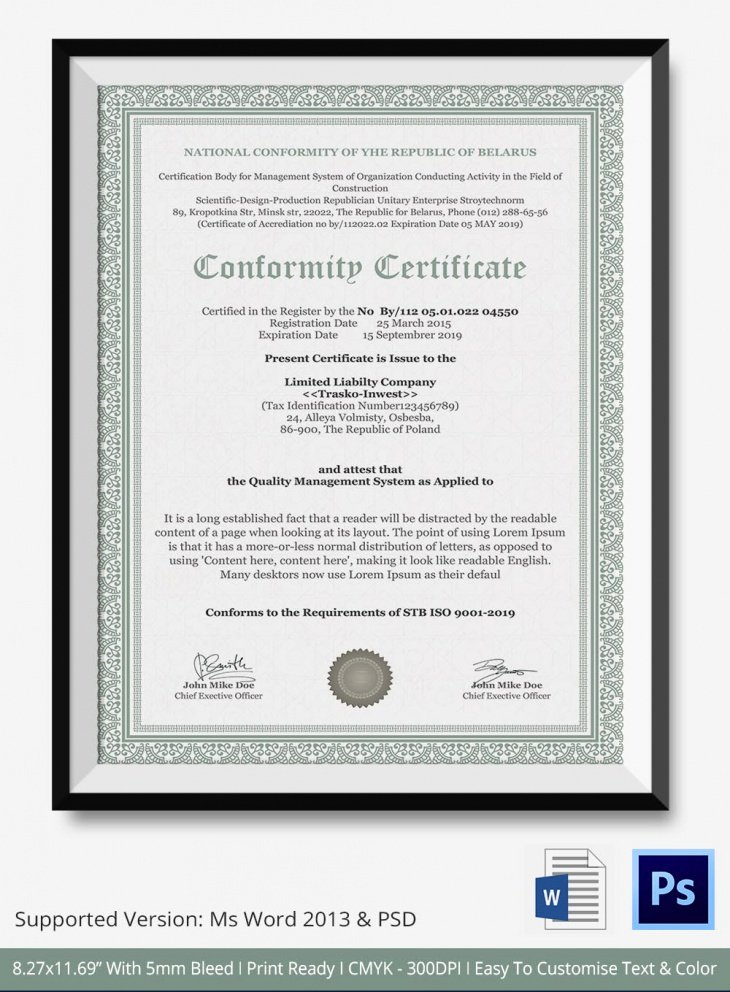 Certificate Of Conformance Template Pdf New 7 Conformance Certificates Psd & Word Designs