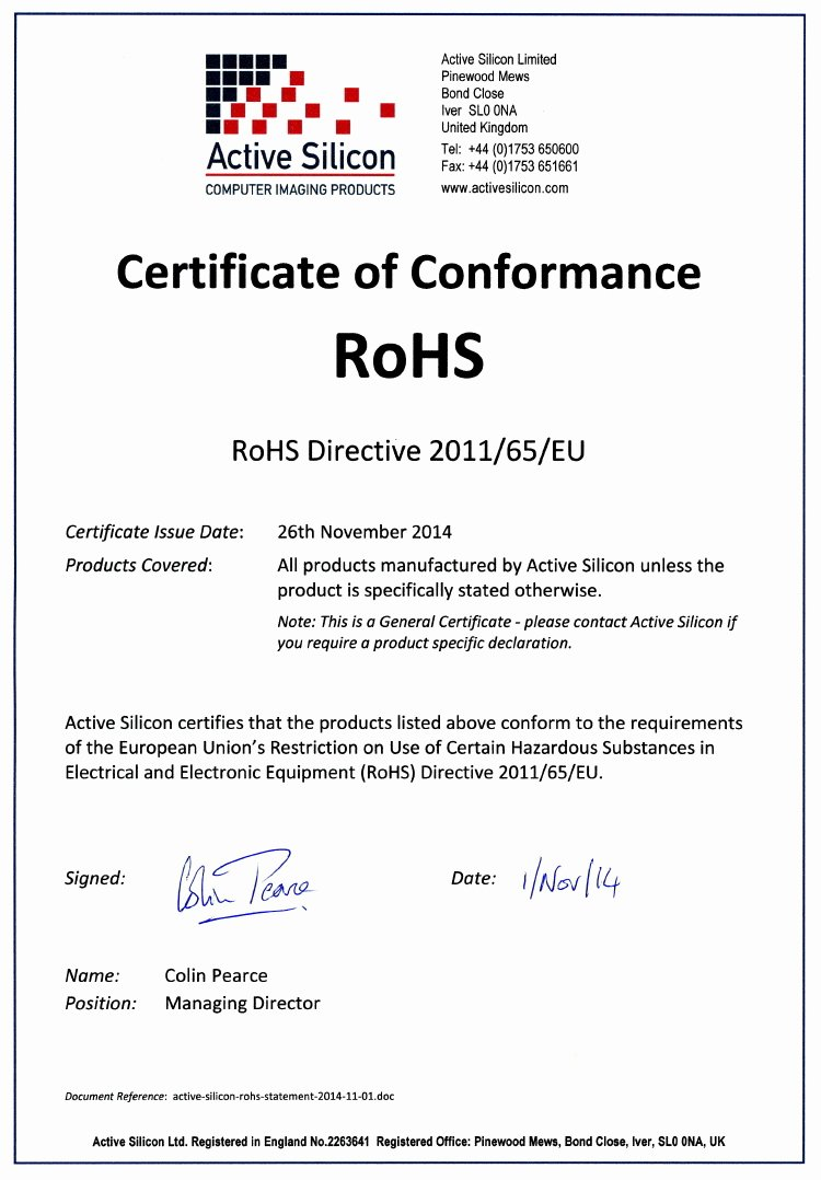 Certificate Of Conformance Template Pdf New Eu Rohs Certificate Pliance Template Templates