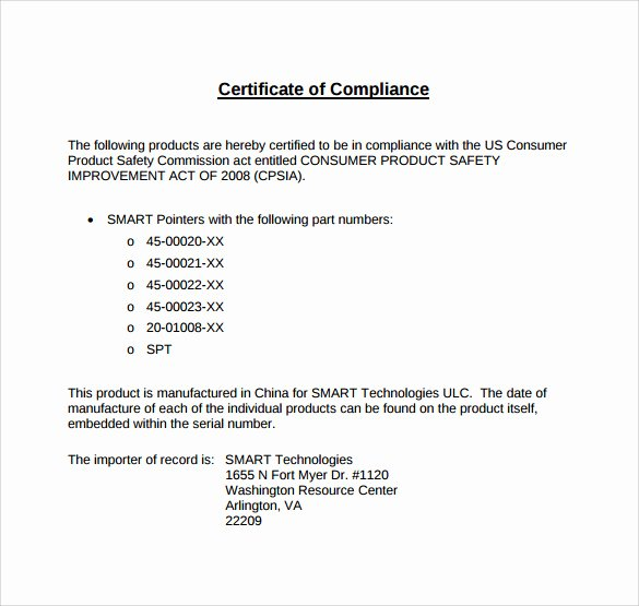 Certificate Of Conformance Template Pdf Unique Sample Certificate Of Pliance 16 Documents In Pdf