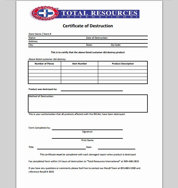 Certificate Of Destruction Template Elegant 21 Of Records Destruction Log Template