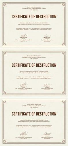 Certificate Of Destruction Template Elegant Destruction Certificate Archives 123 Certificate
