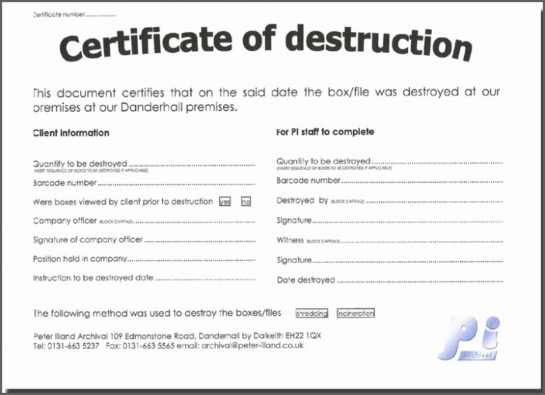Certificate Of Destruction Template Elegant Download Free Certificate Destruction Template – Free