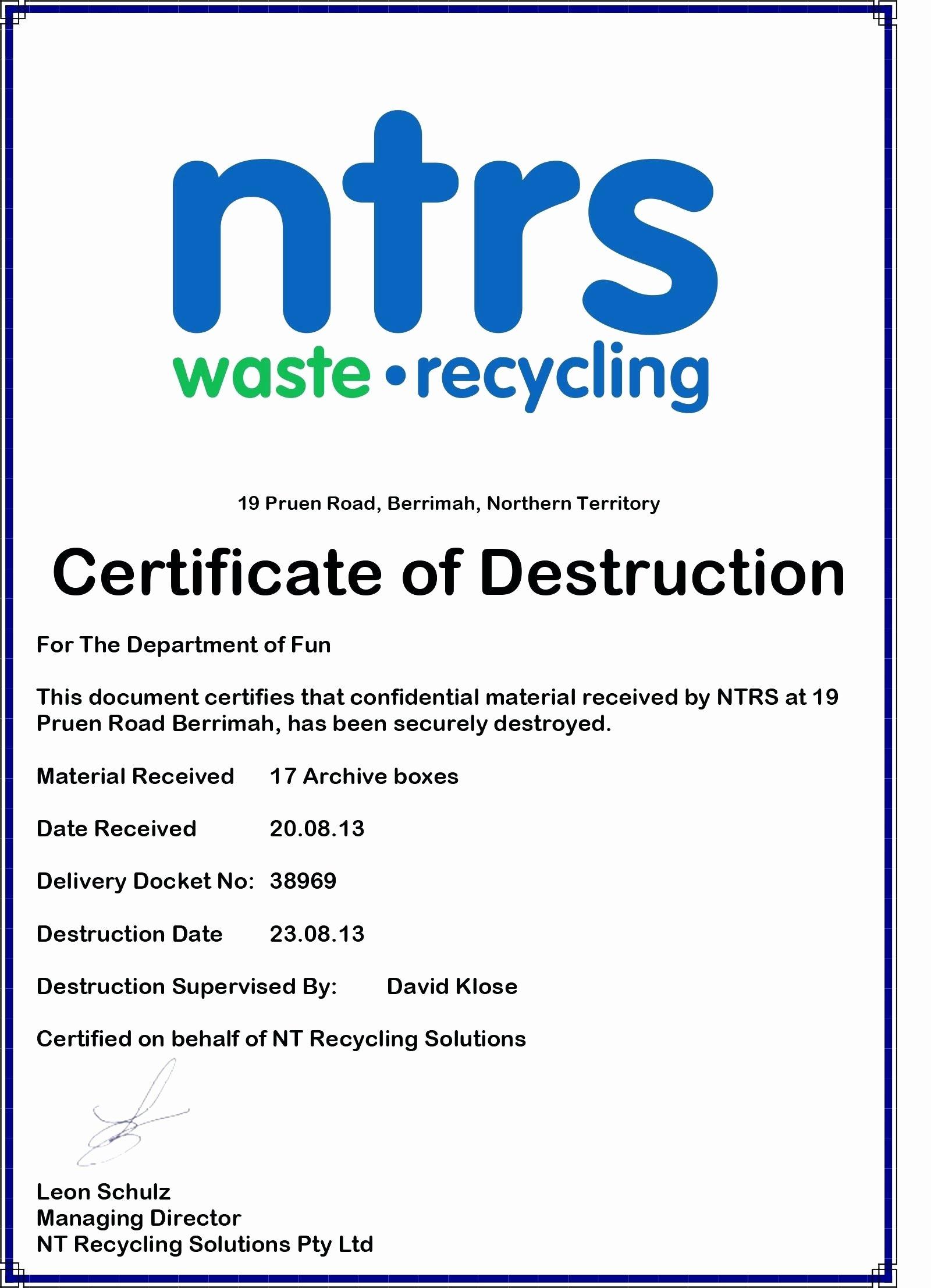 Certificate Of Destruction Template Inspirational Hard Drive Certificate Destruction Template Certificate