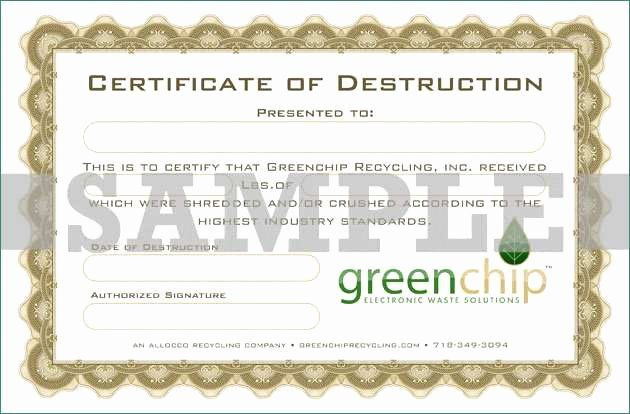Certificate Of Destruction Template Lovely Beautiful Gallery Hard Drive Certificate Destruction