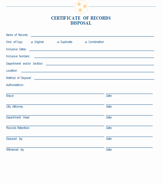 Certificate Of Destruction Template Lovely Sample Certificate Of Records Disposal