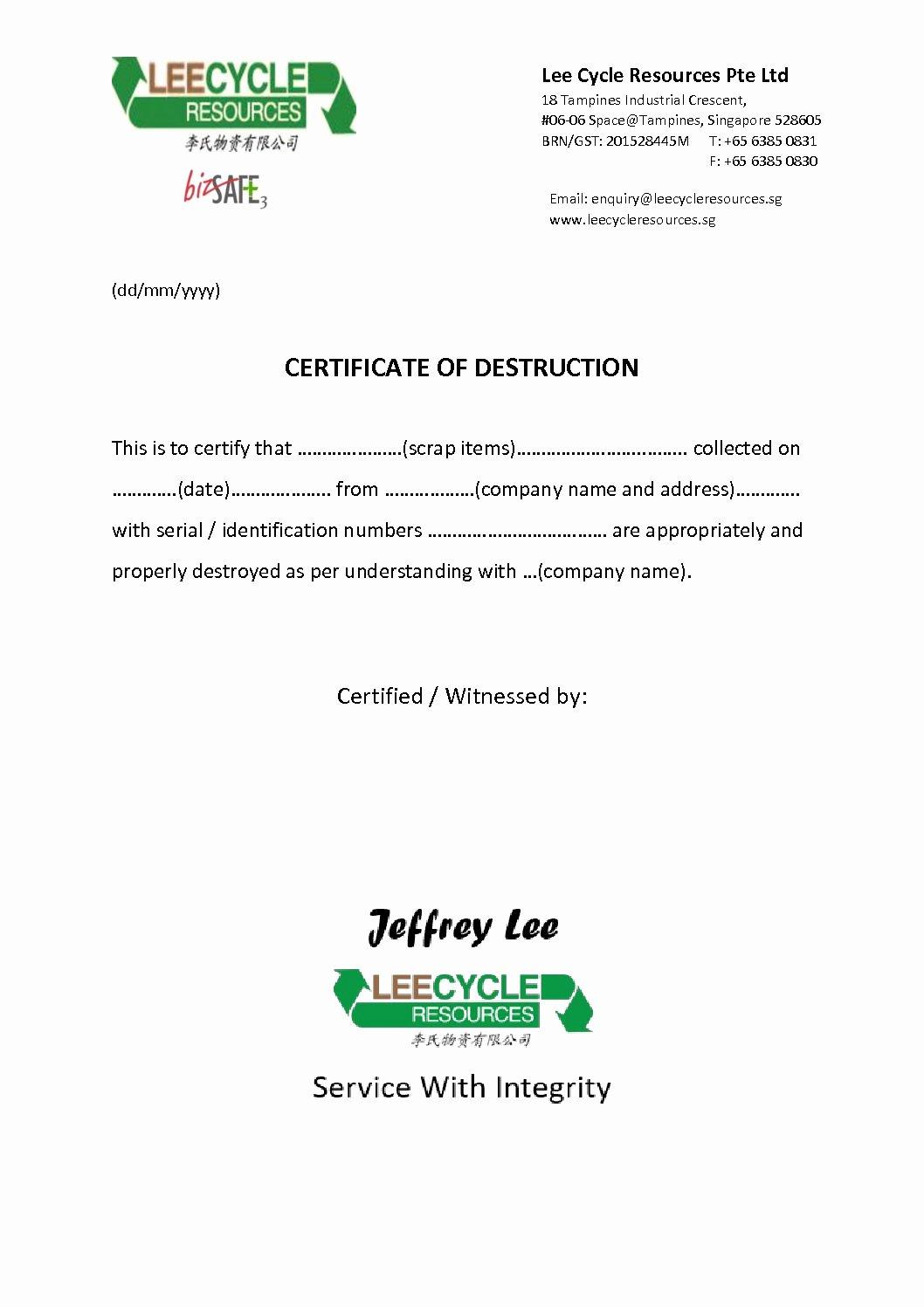 Certificate Of Destruction Template Luxury Certificate Destruction Leecycle Resources Singapore