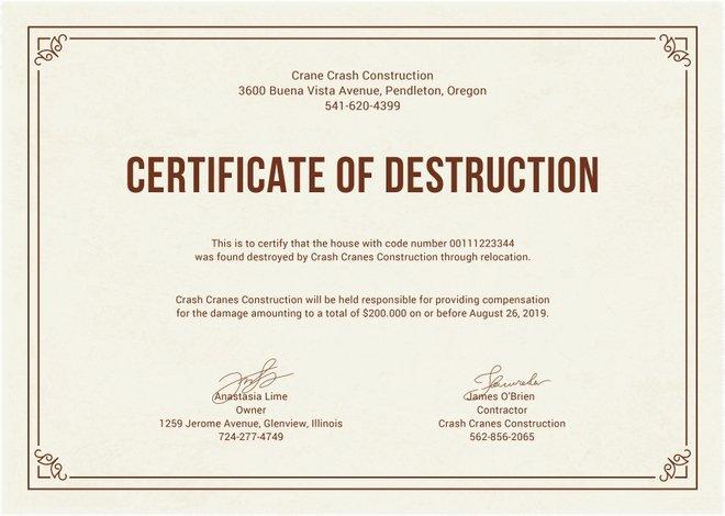 Certificate Of Destruction Template Luxury Certificate Destruction Templates 10 Free Pdf format
