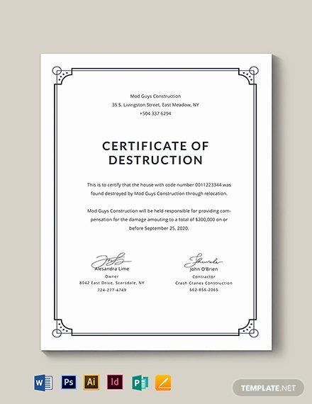Certificate Of Destruction Template Luxury Free Certificate Of Destruction Template Download 435