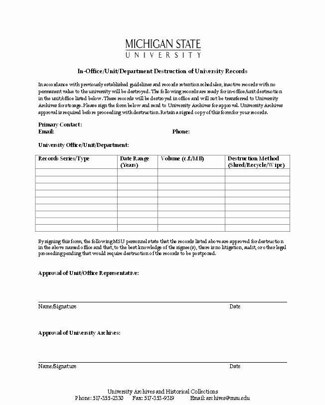 Certificate Of Destruction Template Luxury Records Destruction form Sketch Datanet