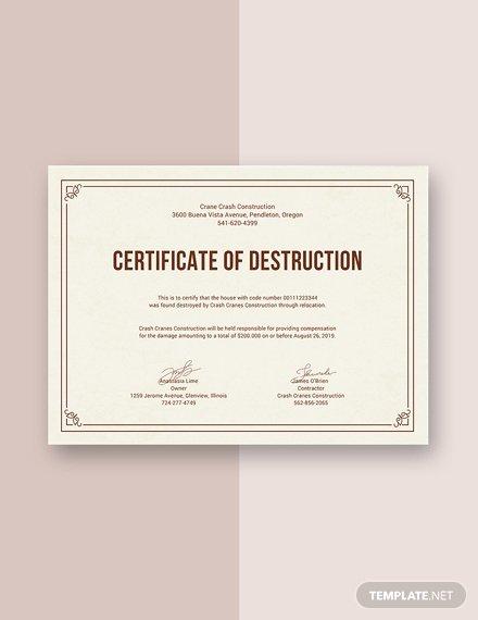 Certificate Of Destruction Template Unique Free Certificate Of Destruction Template Download 380