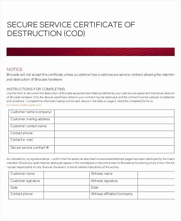 Certificate Of Destruction Template Unique Sample Certificate Destruction or 22 Beautiful Free