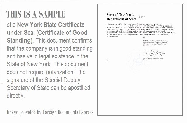 Certificate Of Existence Sample Awesome Certificate Of Good Standing From New York