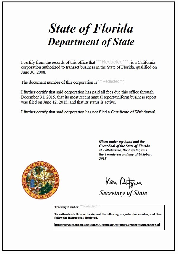 Certificate Of Existence Sample Awesome Florida Certificate Of Good Standing Certificate Of