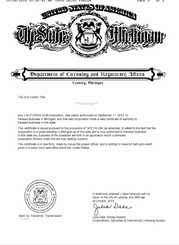Certificate Of Existence Sample Awesome Michigan Certificate Of Good Standing