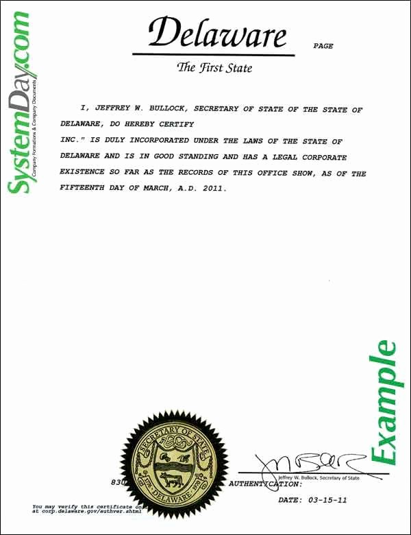 Certificate Of Existence Sample Best Of Certificate Of Good Standing Samples
