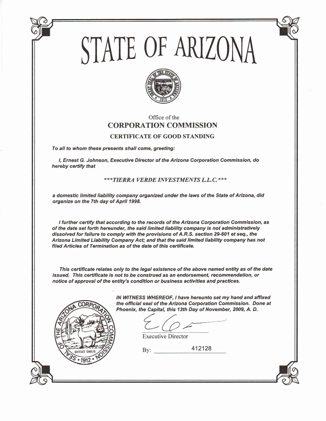 Certificate Of Existence Sample Fresh 30 Detail Arizona Certificate Good Standing Hi