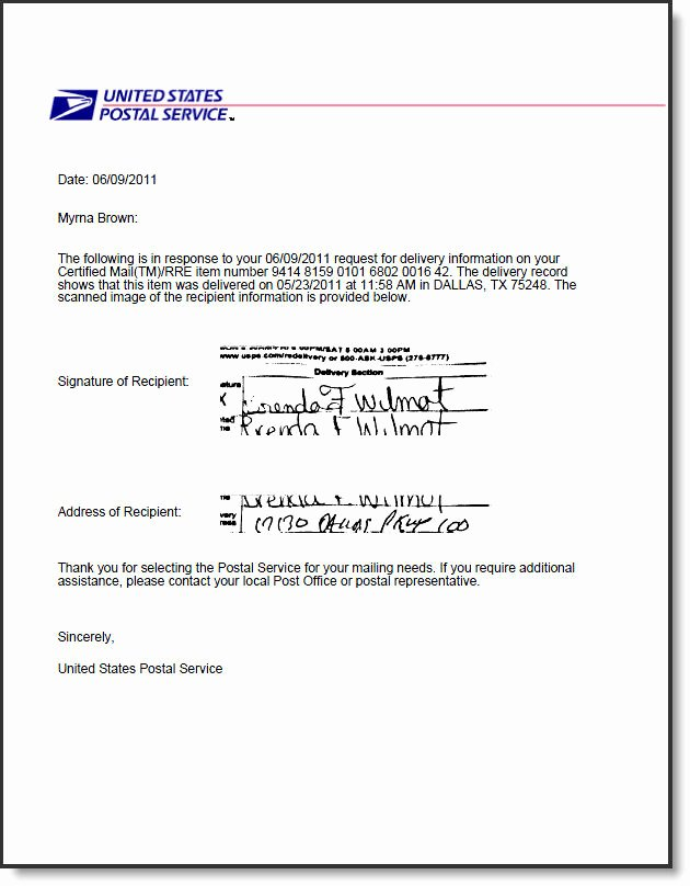 Certified Mail Letter format New Electronic Return Receipt for Usps Certified Mail