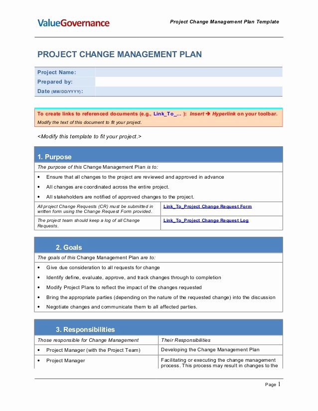 Change Management Plan Template Awesome Pm002 01 Change Management Plan Template