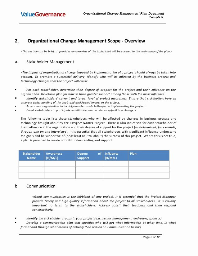 Change Management Plan Template Beautiful Pm002 02 organizational Change Management Plan