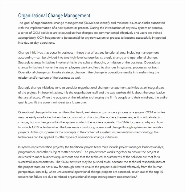 Change Management Plan Template Elegant 12 Change Management Plan Templates