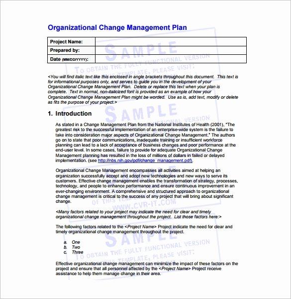 Change Management Plan Template Fresh 14 Change Management Plan Templates Free Sample