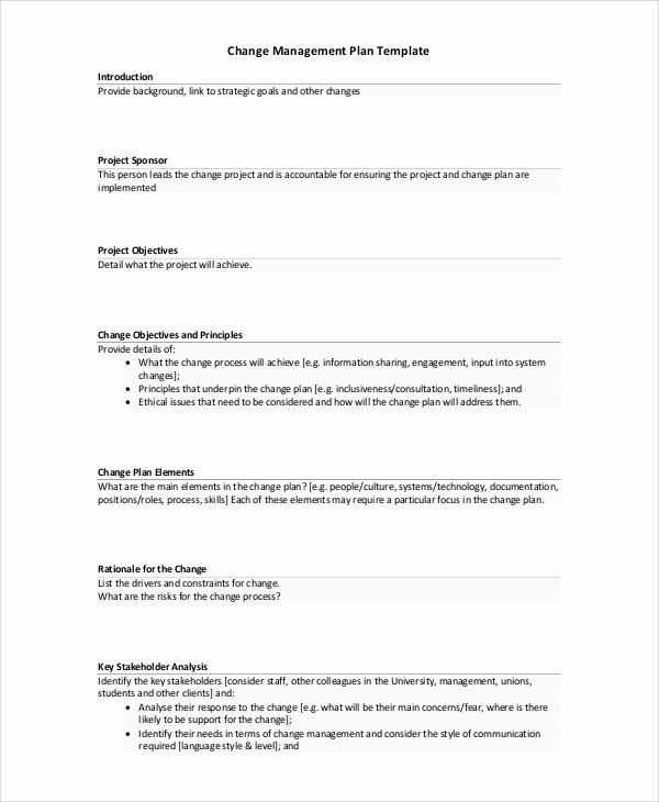 Change Management Plan Template Luxury Sample Change Management Plan 11 Examples In Word Pdf