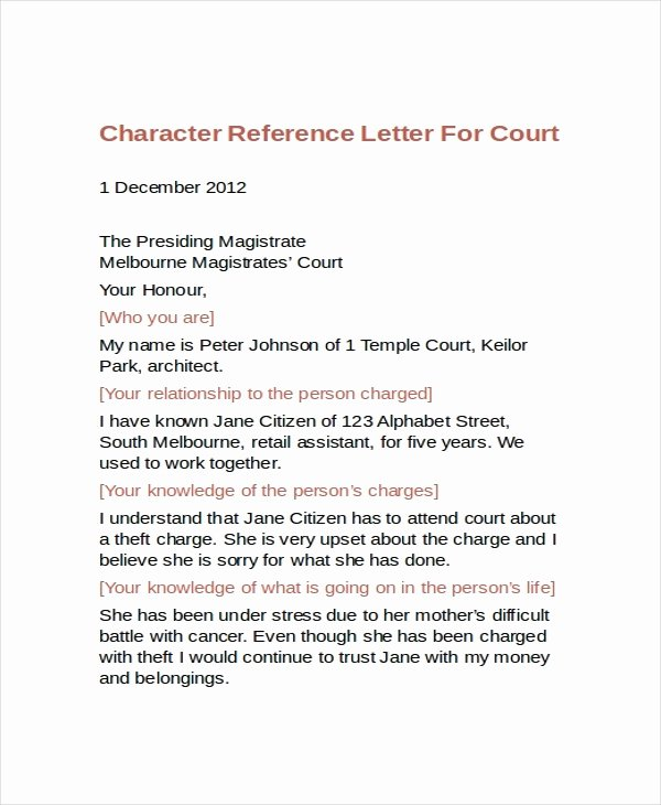 Character Letter format for Court Unique Character Reference Letter for Court