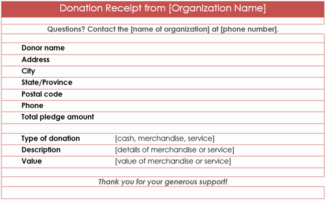 Charitable Donation Receipt Template Unique Donation Receipt Template 12 Free Samples In Word and Excel