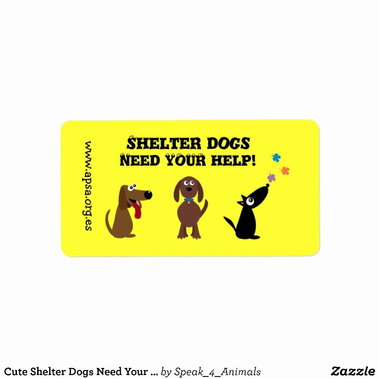 Charity Return Address Labels Fresh Cute Shelter Dogs Need Your Help Charity Label