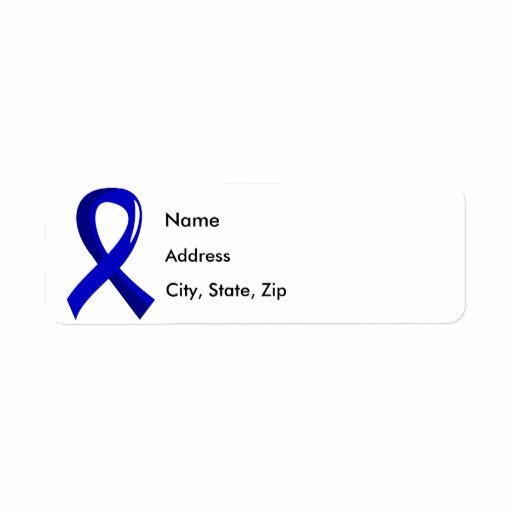 Charity Return Address Labels New Colon Cancer Blue Ribbon 3 Label