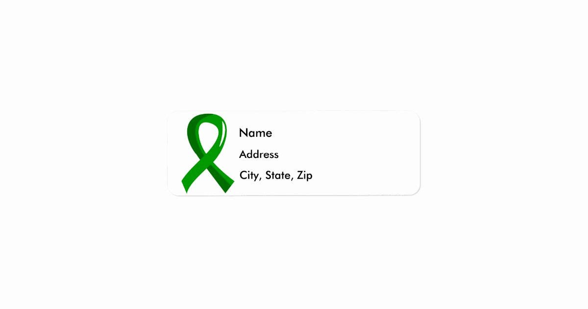 Charity Return Address Labels New organ Donation Green Ribbon 3 Label
