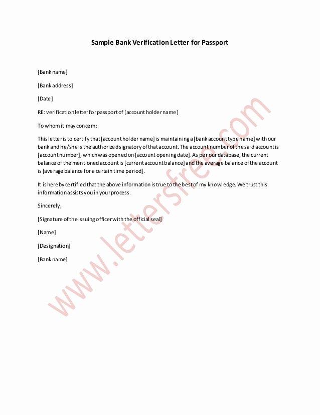 Chase Bank Proof Of Funds Letter Elegant Sample Bank Verification Letter for Passport