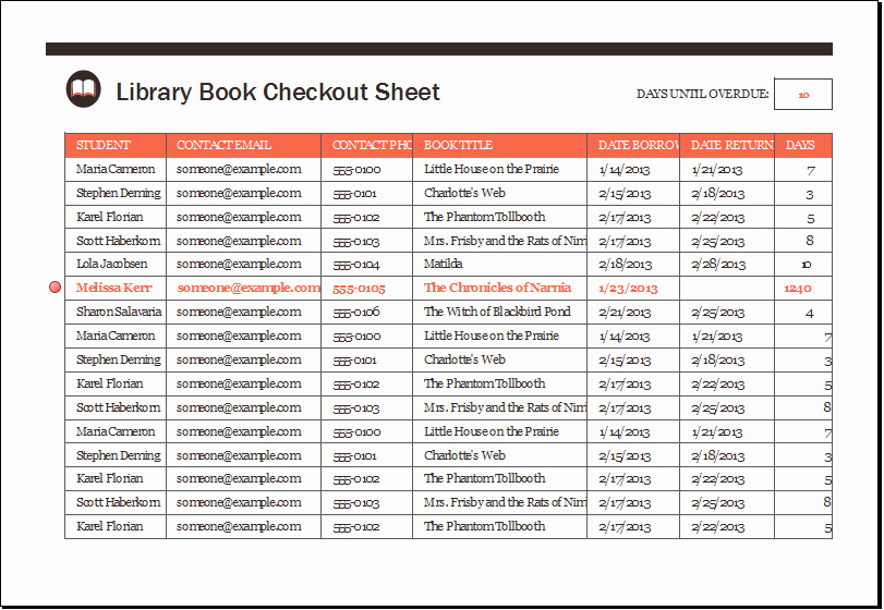 Check In Check Out Spreadsheet Inspirational Library Book Checkout Sheet Template Xls