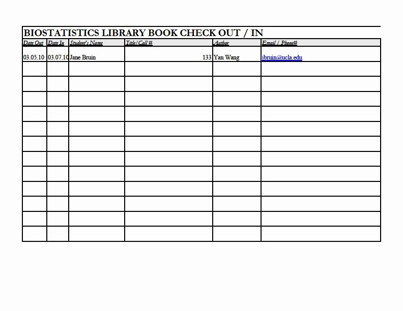 Check In Check Out Spreadsheet Luxury Biostatistics Library