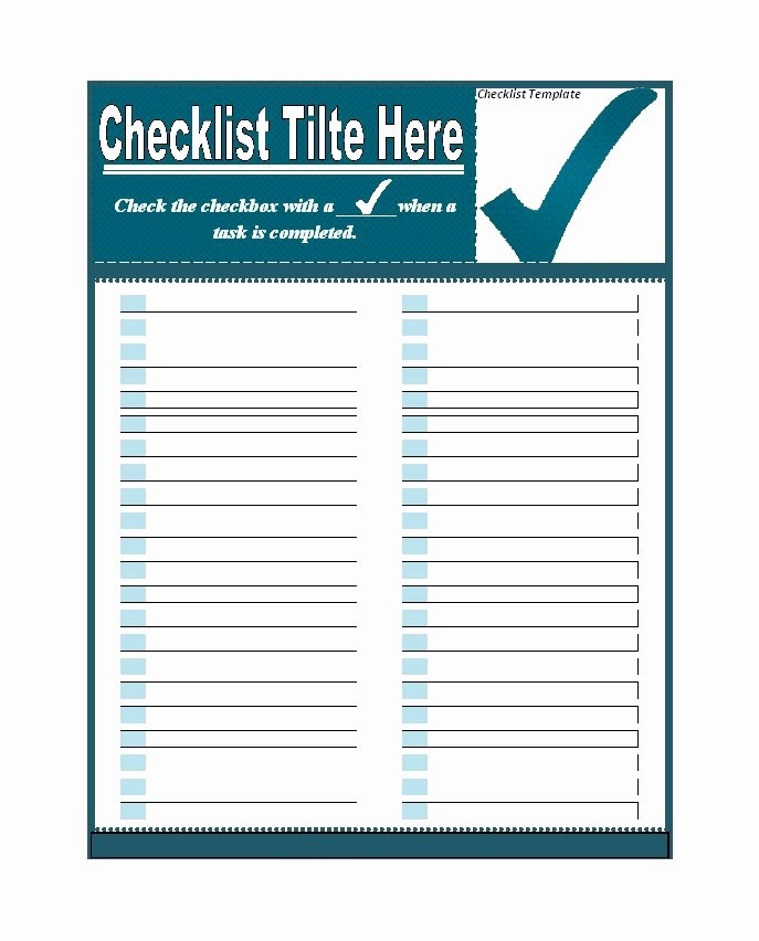 Check Template for Word Awesome 50 Printable to Do List & Checklist Templates Excel Word