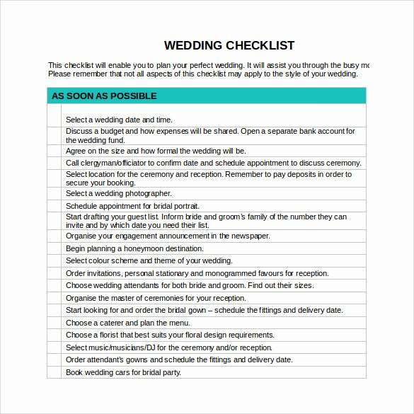 Check Template for Word Unique Sample Wedding Checklist 12 Documents In Pdf Word