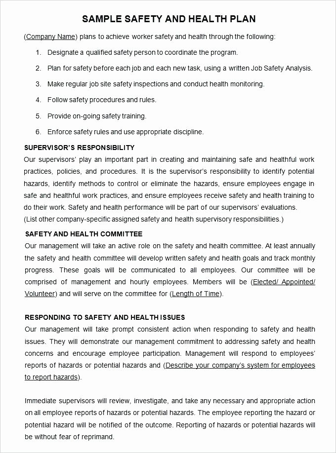 Chemical Hygiene Plan Template Awesome Safety and Health Program Template
