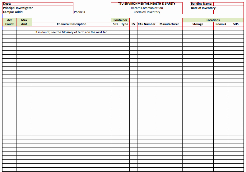 Chemical Hygiene Plan Template Best Of Chemical Inventory List Template Template