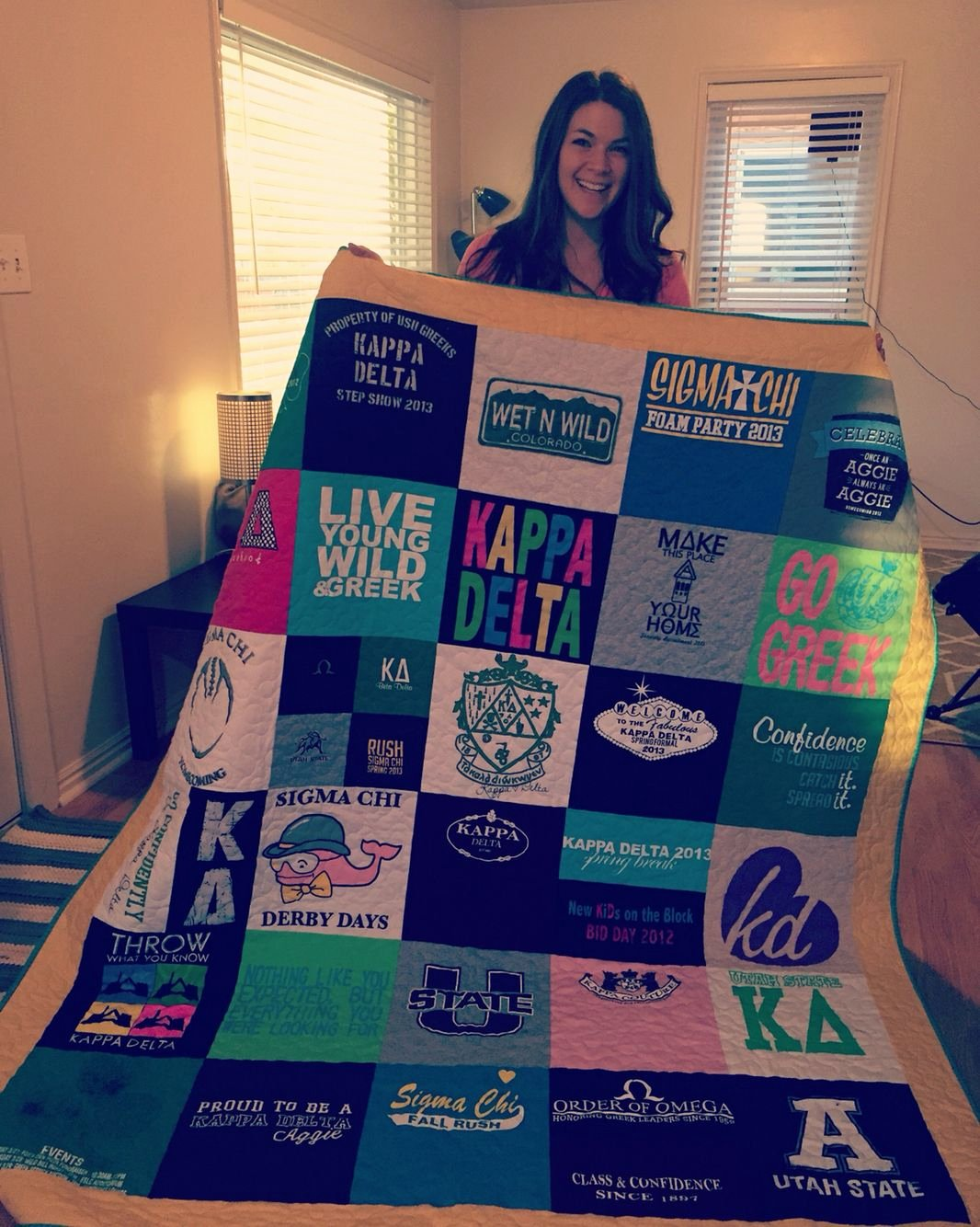 Chi Omega Letter Of Recommendation Unique Homemade College T Shirt Quilt Kappa Delta Utah State