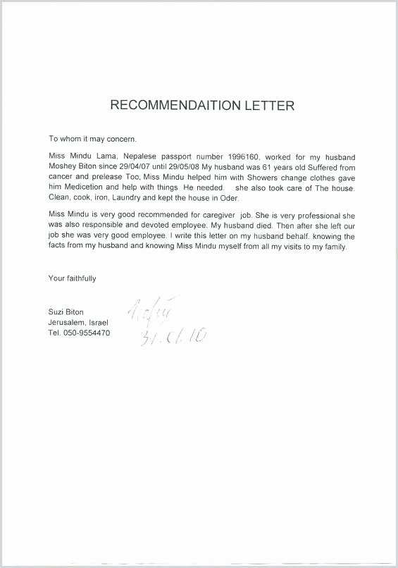Child Care Letter Of Recommendation Fresh Re Mendation Letter for Caregiver Cover Letter for