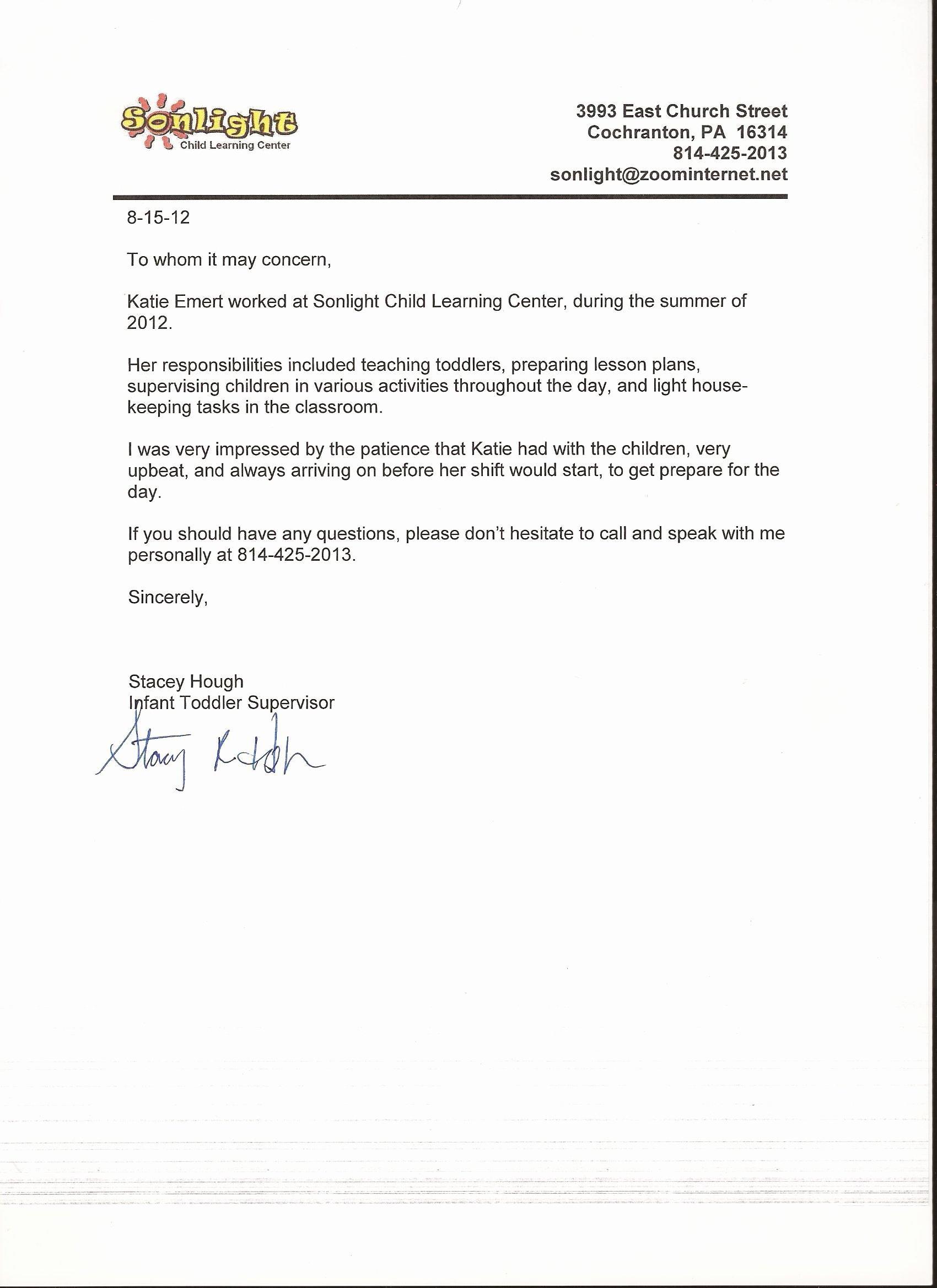 Child Care Letter Of Recommendation Lovely Basic Letters Re Mendation Sample Reference Letter