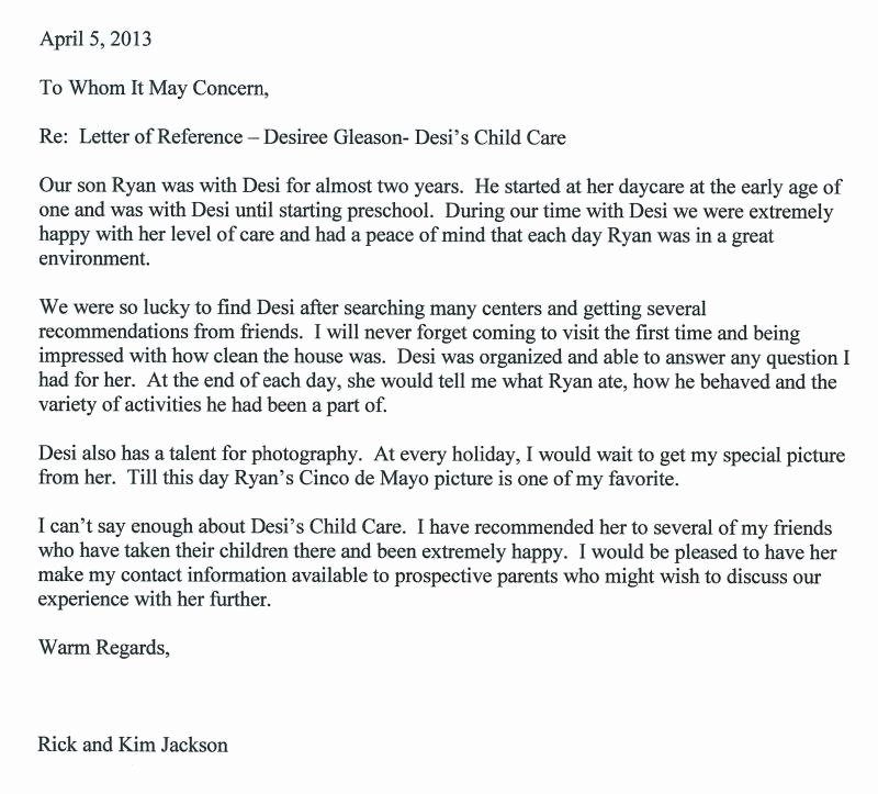 Child Care Letter Of Recommendation Luxury Desi S Child Care Reference & Thank You Letters
