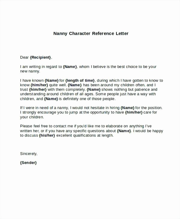 Child Care Letter Of Recommendation Luxury Letter Re Mendation for Caregiver Nanny Reference