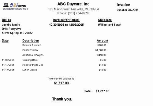 Child Care Payment Receipt Elegant Childcare Sage Professional Childcare Management software