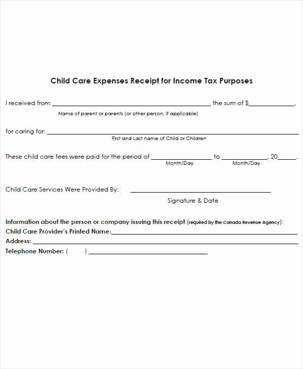 Child Care Payment Receipt Lovely 7 Expense Receipt Template – Examples In Word Pdf
