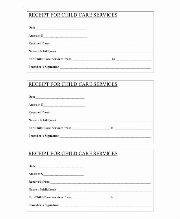 Child Care Payment Receipt Luxury 7 Sample Payment Receipt forms Free Sample Example